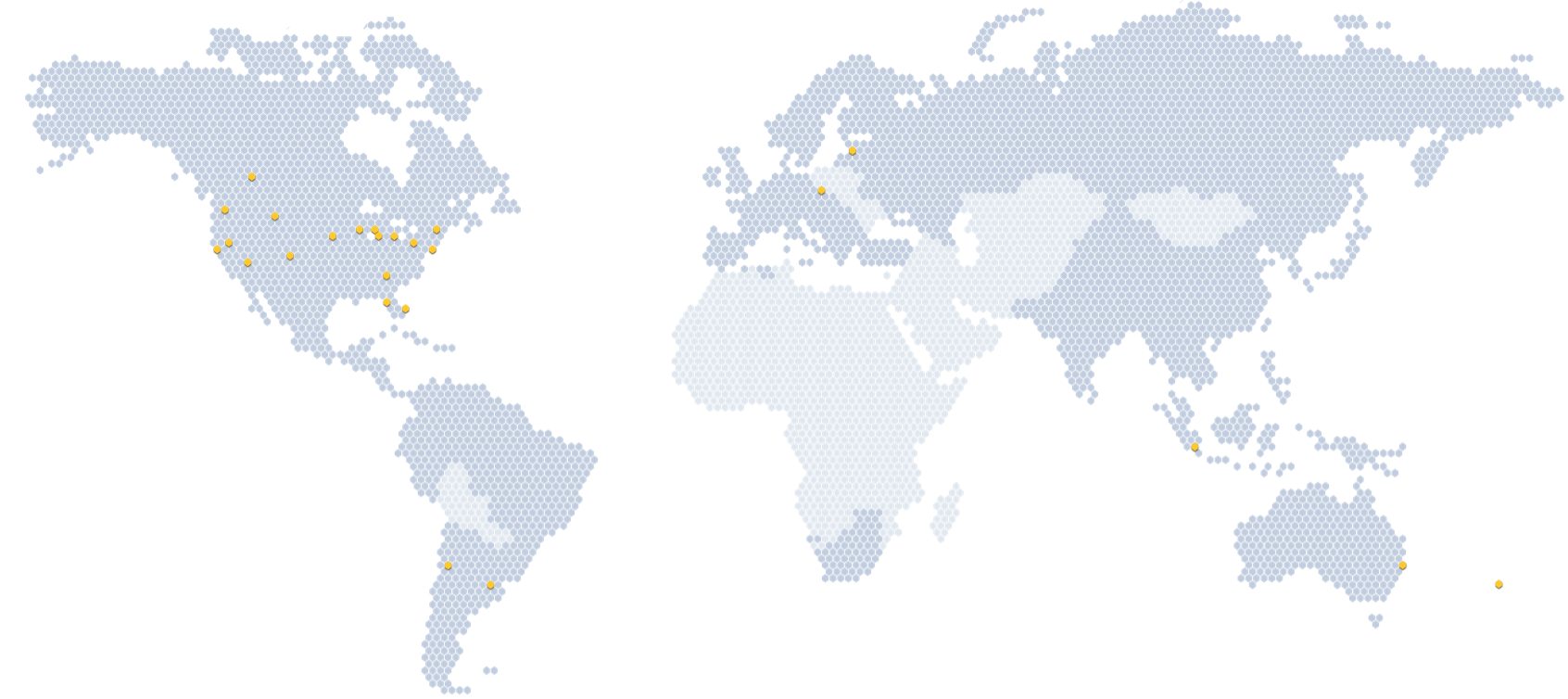 Mercator Projection world map dotted with yellow and grey hexagons indicating Care Mobile program locations in the regions serviced